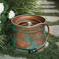 Awesome Patina Copper Hose Pot. Garden Hose HolderGarden ...