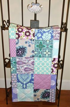 Love These colors!  Modern Baby Quilt  Patchwork  Lavender and Aqua  by FernLeslieBaby, $79.00