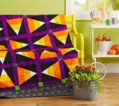 Halloween doesn't have to be spooky. Keep things festive and piece together a sweet treat with zero calories. Candy Corn Toss is a free pattern from All People Quilt Halloween Sewing, Fall Sewing, Halloween Crafts, Halloween Candy, Halloween Ideas, Halloween Witches, Halloween Stuff, Halloween Halloween, Fall Crafts