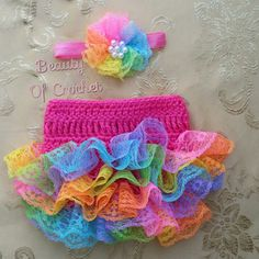 Rainbow diaper cover set Baby girl photography prop Newborn girl rainbow headband and diaper cover Crochet newborn outfits by BeautyOfCrochet on Etsy