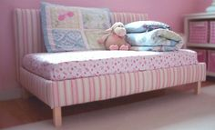 Toddler Upholstered Bed.  Definitely want to try this when baby girls grows out of her crib.