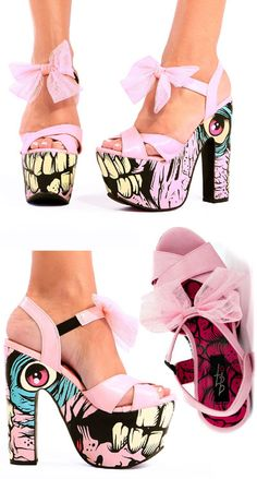 NEW - Dance On Your Grave Super Platforms from Iron Fist!! WOWZA! If you can't stand heights we have this little pink zombie design in a lightweight creeper, and a peep toe heel too. We got you covered!!
