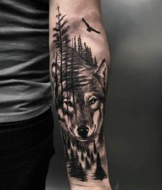 A Wolf blended in with his Surrounds displayed in Wolf Tattoo Forearm, Wolf Tattoo Sleeve, Forarm Tattoos, Forearm Tattoo Design, Best Sleeve Tattoos, Tattoo Sleeve Designs, Tattoo Designs Men, Leg Tattoos, Wolf Tattoos Men