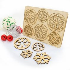 12 Wooden Laser Cut Snowflake Christmas Tree Decorations