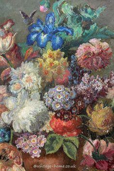Vintage Home Shop - Antique Floral Oil Painting: www.vintage-home.co.uk