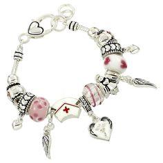 Nurse Charm Bracelet BE Pink Murano Glass Beads Red Cross Wing Heart Medical New #ReyclebabeBracelets #SlideSlider