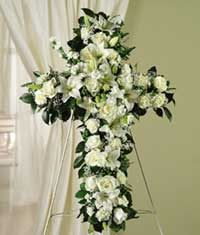 For loved ones who believed in God, celebrate their belief in heaven with a beautiful standing cross that symbolizes that they will live on. http://www.bestflowers.com/