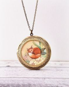 FOX LOCKET large Red Fox Necklace Made From Our by SeedandSky