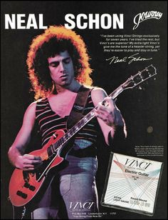 Journey Neal Schon 1982 Vinci Strings on Gibson Les Paul guitar 8 x 11 ad print Marshall Guitar, Jim Marshall, Gibson Les Paul, Neal Schon, Guitar Books, Joe Satriani, Guitar Magazine, Cool Electric Guitars, Funny Caricatures
