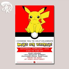 Pokemon Ball Pikachu Anime Birthday Party Card Digital Invitation Kid Birthday…