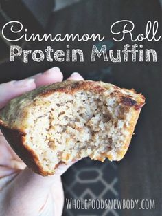 Ultimate Beginners Guide to Clean Eating Whole Foods.New Body!: {Cinnamon Roll Protein Muffins} These are SO yummy !Whole Foods.New Body!: {Cinnamon Roll Protein Muffins} These are SO yummy ! Protein Dinner, Healthy Protein Snacks, Healthy Muffins, Healthy Sweets, Healthy Baking, Protein Bars, Protein Cookies, Healthy Lunches, Healthy Breakfasts