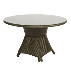 Not only will the Woodard Trinidad Woven Round Umbrella Dining Table enhance the aesthetics of your outdoor dining space, it will also wow you with. Metal Side Table, Solid Wood Dining Table, Round Dining Table, Outdoor Dining, Outdoor Tables, Patio Dining, Outdoor Spaces, Patio Seating, Patio Table
