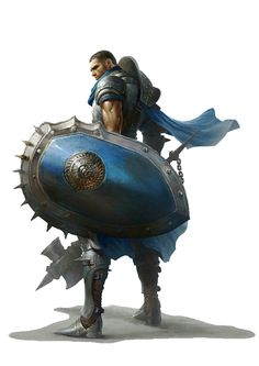 Human Fighter Warhammer + Big Shield - Pathfinder PFRPG DND D&D d20 fantasy