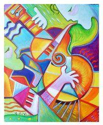 "Latin Jazz Acrylic on Stretched canvas 15"" x 20"" by Marlina Vera"