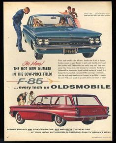 1961 Oldsmobile F-85 blue sedan red station wagon photo vintage print ad