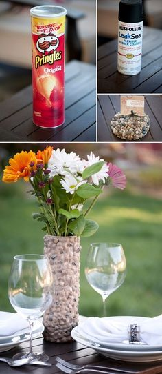 DIY project=rustic rock vase