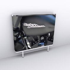A matt black Harley Davison Roadster photographic digital printed radiator cover