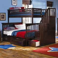 Atlantic Furniture Columbia Staircase Bunk Bed with Raised Panel Drawers   Wayfair (Like the stairs idea)
