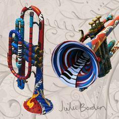 "julie borden artist | Jazzy"" Original Hand Painted Trumpet by artist Julie Borden"