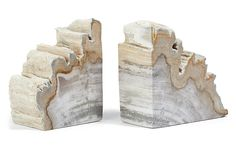 Like puzzle pieces from Mother Nature, these bookends are crafted from petrified wood, carefully cut to reveal a spectacular natural motif. Use them to add natural flair to a stack of books or set them on their own as beautiful, sculptural objects. Desk Accessories, Decorative Accessories, Decorative Accents, Interior Accessories, Wood Bookends, Wood Gifts, Petrified Wood, Home Living, Living Room