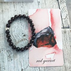 GARNET BRACELET | Crystal Healing Bracelet Charged with Reiki and Vogel Crystal | Genuine 8mm Deep Red Garnet Beaded Bracelet, Mala Healing Bracelets, Crystal Bracelets, Crystal Beads, Garnet Bracelet, Red Garnet, How To Make Beads, Crystals And Gemstones, Stone Beads, Silver Beads