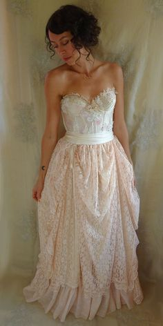 Pearl Bustier Gown... wedding dress boho whimsical fairy woodland country shabby chic rococo prom formal free people... by Jada Dreaming