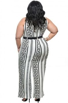 Plus Size White Print Gold Belted Jumpsuit XL-3X aab7c3bd8197