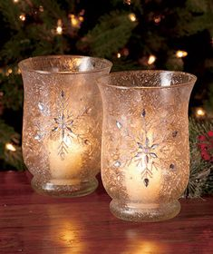 Sets of 2 Frosted Glass Jeweled Hurricanes - #WinterWedding #Centerpieces  #Wedding #HappilyEverAfter #Snowflake