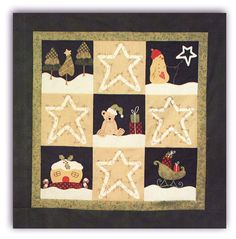 """Oh the Starry Nights at Christmas Time!  With a chilly snowman wishing upon a star, a sleepy teddy bear, Santa's sleigh filled to the brim, and snow-capped trees and a gingerbread house, this sweet little wall hanging will warm up those Christmas nights, too!  Your choice of fusible or hand applique, plus a little stitchery and some piecing - a quilter's dream! The finished wall hanging measures 39"""" square, and the quilt kit comes complete with all the fabric to complete the quilt top…"""