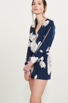 Just add sun Wrap Romper with Sleeve Cutouts