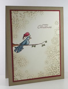 Think Outside the Box: Christmas in July.  Love the addition of the bird and branch to this sponged embossed snowflake card.