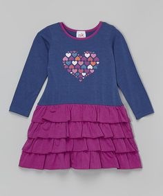 Look what I found on #zulily! Purple Heart Ruffle Dress - Infant, Toddler & Girls #zulilyfinds