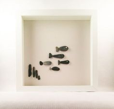 Cornish Pebble Art White Box Frame Picture