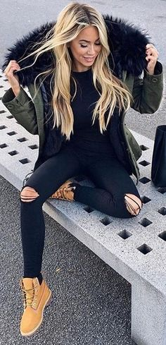 #fall #outfits / olive green faux fur parka