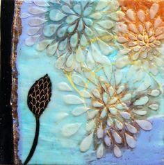Floral encaustic pod gold leaf