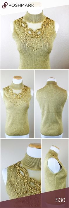 """Gold High Neck Sheer Ribbed Embellished Top Stunning metallic gold embellished top by Cable and Gauge Petites. Ribbed style top that hugs curves. Sleeveless. Beautiful sheer and embellished neckline. Fabric has some stretch. 45% silk, 33% Polyester, 13% Cotton, 9% Metallic embellishments. Machine washable. Preowned in good condition. Petite medium. 21"""" Length. Bust 36-37"""". Waist 28""""-29"""". Cable & Gauge Tops"""