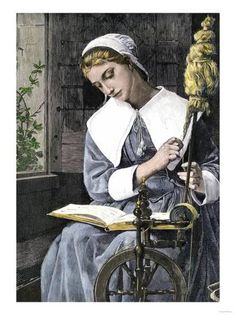 Young Puritan Woman Reading While Spinning at Her Wheel Giclee Print at AllPosters.com