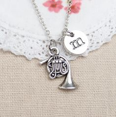 personalized silver french horn necklace antique by madebypepper