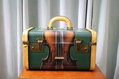 vintage train case decoupaged
