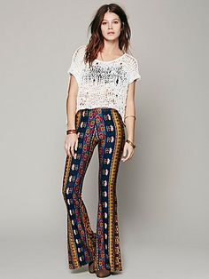 Free People Border Print Bell Bottoms These pants are so awesome! I want them in every color
