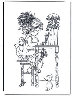 sarah kay coloring pages Cute Coloring Pages, Printable Coloring Pages, Adult Coloring Pages, Coloring Pages For Kids, Coloring Books, Anne Geddes, Holly Hobbie, Digital Stamps, Embroidery Patterns