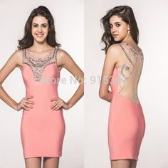 Cheap beaded skirt, Buy Quality beaded pashmina directly from China bead Suppliers:New Arrival Sheath Scoop Neck Sleeveless Beads with Rhinestones Sexy Backless Short Peach Prom Dresses 2014 Bodycon Wear