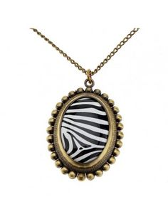 Vintage Bronze Zebra Pattern Chain Oval Pocket Watch