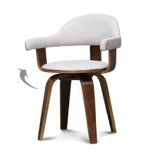 Chaise design pivotante simili-cuir blanc et bois massif