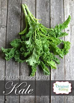 Learn secrets other sites won't tell you about Kale and other foods on the Paleo diet food list including Paleo diet recipes only at Original Eating! Paleo Diet Food List, Diet Recipes, Kale, Foods, The Originals, Vegetables, Health, Health Foods, Food
