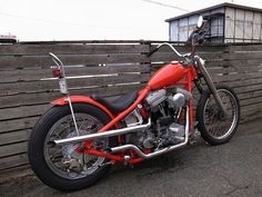 "Custom Harley-Davidson Evolution® rigid chopper by Shix Motor Cycles   Paughco [?] ""straight leg"" type hardtail frame   Shaved H-D narrow glide fork   ""Teardrop"" style gas tank   21"" & 18"" wheels   Japan"