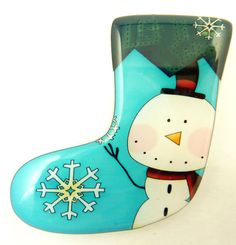 Snowman Christmas Stocking Brooch.  Snowman by outspokenjewelry, $9.99