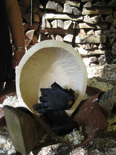 wooden bowl carving with Guy Mallinson of BBC 'Mastercrafts' fame, what a great laugh :-) No I didn't lose two fingers to the chisel, the gloves are meant to be like that! In a wood somewhere in Devon, UK