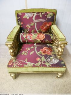 Armchair gold-coloured wood sculptured time napoleon iii with silk trades models exception - Seating Style Napoléon III