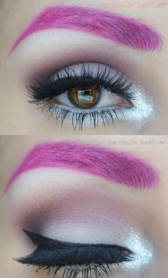 Pink brows. Matte mauve and plum tone shadows. Shimmery white on the inner corners. Thick, but modest cat eye. Falsies.